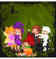Cute colorful halloween kids in costume for party vector