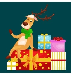 Christmas deer with banner isolated happy winter vector