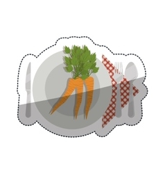 Carrots over plate and cutlery design vector