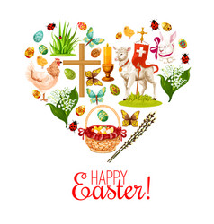 heart with easter holiday cartoon icons vector image