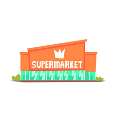 Supermarket mall building colorful vector