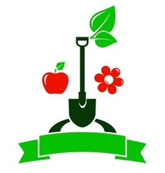 Garden sign with fruit and flower vector