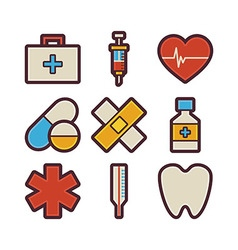 Health care and medical items modern flat icons vector