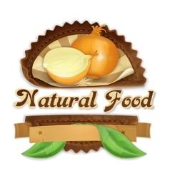 Ripe onion label design vector image