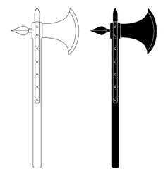 Medieval battle ax contour black vector