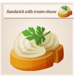 Detailed icon sandwich with cream cheese vector