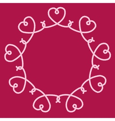 Frame made of rope hearts decorative knots vector