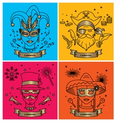Set of carnival characters in masks costumes vector