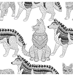 High detailed seamless pattern with dogs vector