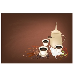 Arabic coffee with spiced on chalkboard vector