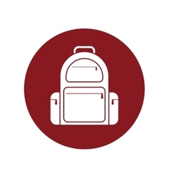 backpack traveler vacation red circle vector image