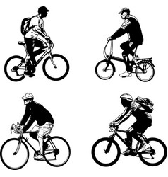 Bicyclist sketch silhouettes - vector