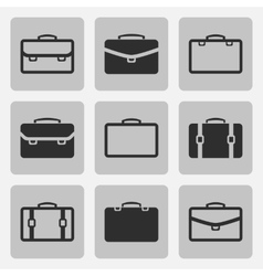briefcase black icons set vector image vector image