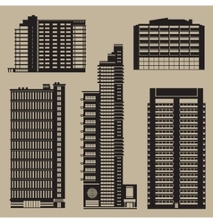 Buildings set with skyscrapers and hotels vector image