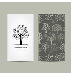 Business card design floral tree vector