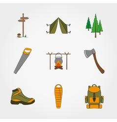 Camping equipment symbols and icons set vector image