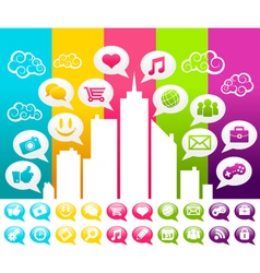 Colorful City with Social Media Icons vector image vector image