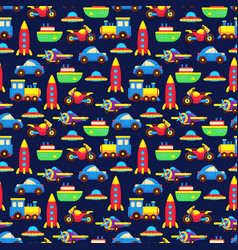 colorful toy transport seamless pattern vector image
