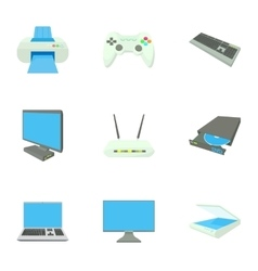 Computer protection icons set cartoon style vector