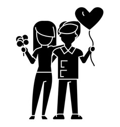 couple loving - with flowers and balloon icon vector image vector image