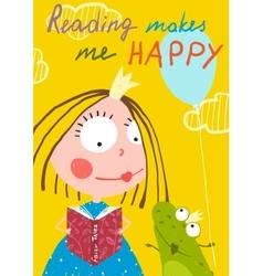 Curious funny little girl reading fairy tale book vector