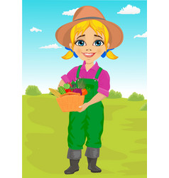 Cute little girl gardener with basket vector