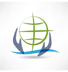 Eco Earth in hands icon vector image vector image