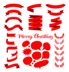 Festive set of red ribbons speech bubbles vector