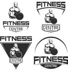 Icons for bodybuilding and fitness vector image vector image
