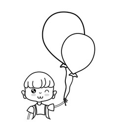 line nice boy with balloons design in the hand vector image