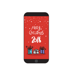 merry christmas 2018 message on modern cell smart vector image vector image