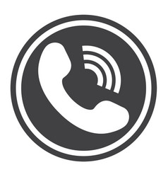 Phone call solid icon contact us and website vector
