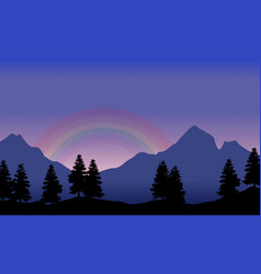 Rainbow on the mountain beauty landscape vector