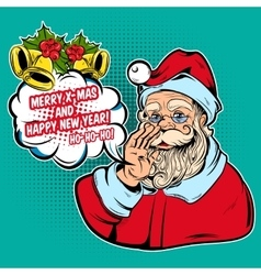 Santa and greetings comic style design vector