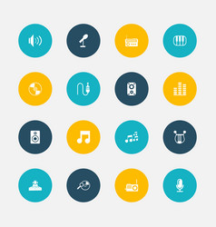 Set of 16 editable multimedia icons includes vector