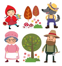 Set of characters from little red riding hood vector