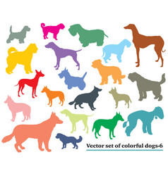 Set of colorful dogs silhouettes-6 vector
