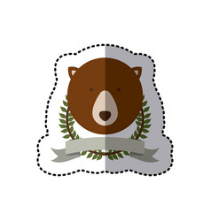 Sticker crown leaves and label with bear animal vector