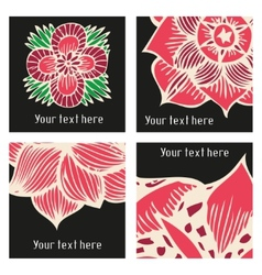stylish posters with flowers in tattoo vector image vector image