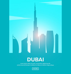 Travel poster to dubai landmarks silhouettes vector