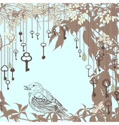 Vintage card with sparrow and keys vector image vector image