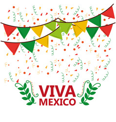 Viva mexico poster confetti garland leaves party vector
