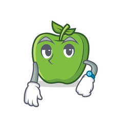 Waiting green apple character cartoon vector