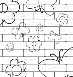 White brick wall with flover and butterfly vector