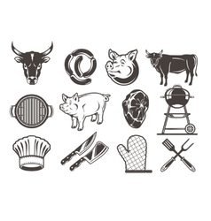 Set grill and barbecue icons vector