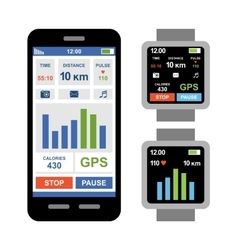 Fitness tracker app for smartwatch and smartphone vector