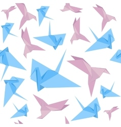 Origami paper crane background pattern vector