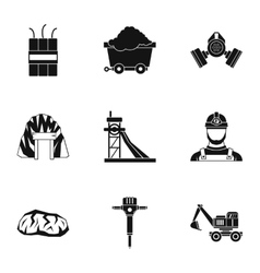 Coal icons set simple style vector