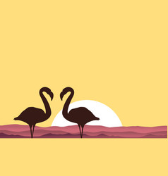 Lake scenery with flamingo silhouette vector