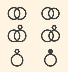 Set of engagement rings icons on beige background vector
